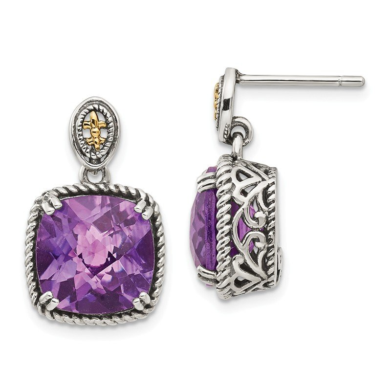 Shey Couture Sterling Silver w/14k Amethyst Dangle Post Earrings