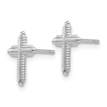 14K White Gold Polished Cross Post Earrings