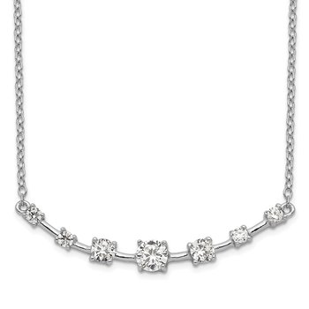 Sterling Silver Rhodium-plated 7-CZ Bar w/1in ext Necklace