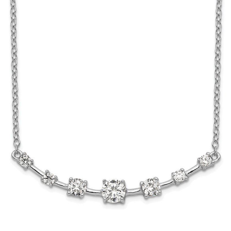 Quality Gold Sterling Silver Rhodium-plated 7-CZ Bar w/1in ext Necklace