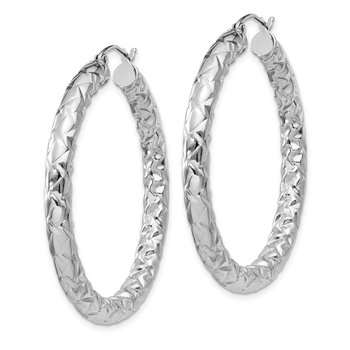Sterling Silver Rhodium-plated Textured 4x40mm Hoop Earrings