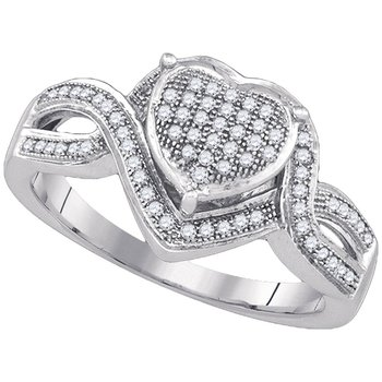 10kt White Gold Womens Round Diamond Twist Heart Cluster Ring 1/4 Cttw