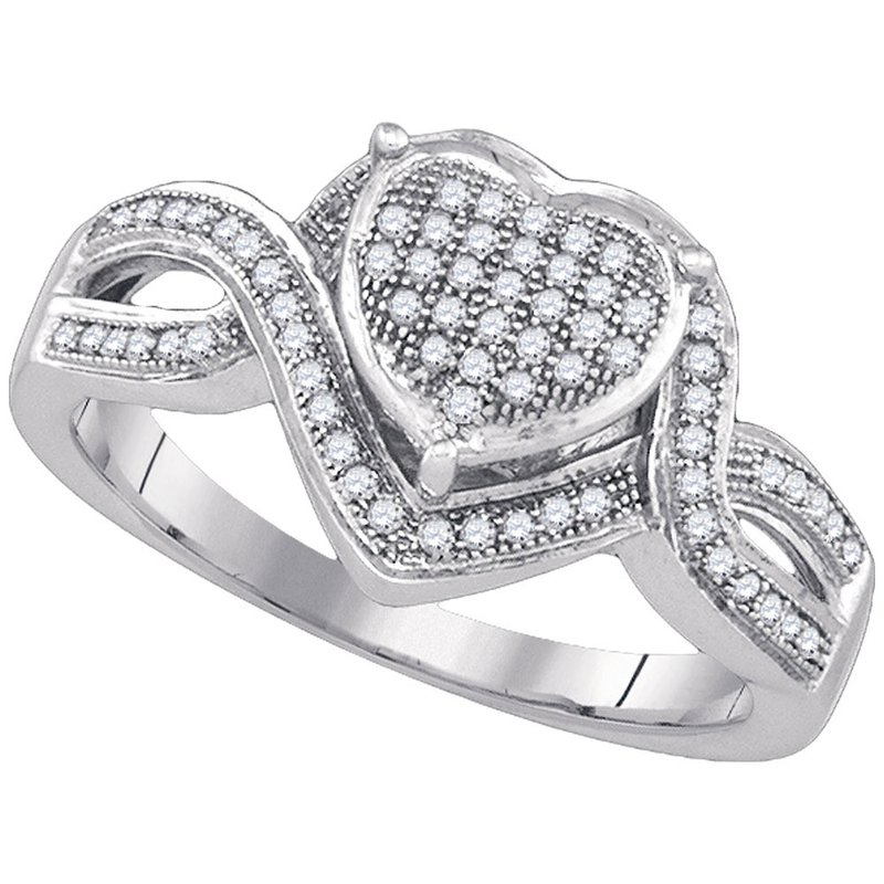 Gold-N-Diamonds, Inc. (Atlanta) 10kt White Gold Womens Round Diamond Twist Heart Cluster Ring 1/4 Cttw