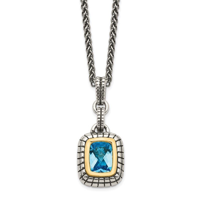 J.F. Kruse Signature Collection Sterling Silver w/14k Swiss Blue Topaz Necklace
