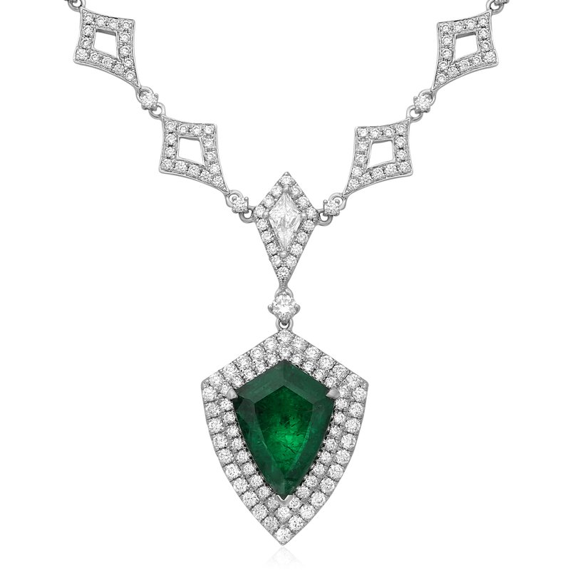 Roman & Jules Double Halo Emerald & Diamond Necklace