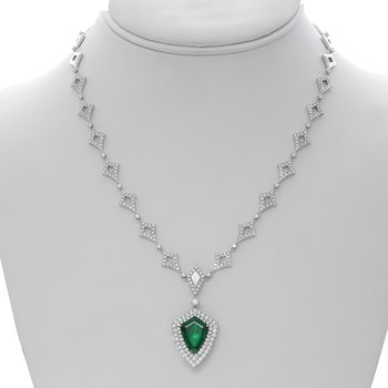 Double Halo Emerald & Diamond Necklace