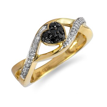 14K YG Black Diamond Heart Ring