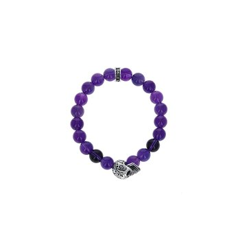 10Mm Amesthyst Polish Beaded Bracelet W/ Dotd Skull