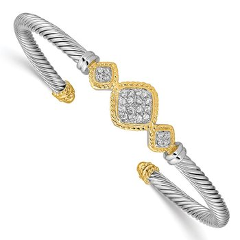 Sterling Silver Vermeil CZ Rope Design Bangle