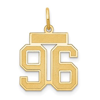 14k Small Satin Number 96 Charm