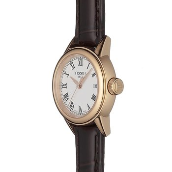 Carson Women's Quartz Watch Brown Leather Strap, White Roman Dial