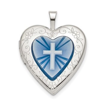 Sterling Silver 20mm Blue Resin Cross Cameo Heart Locket