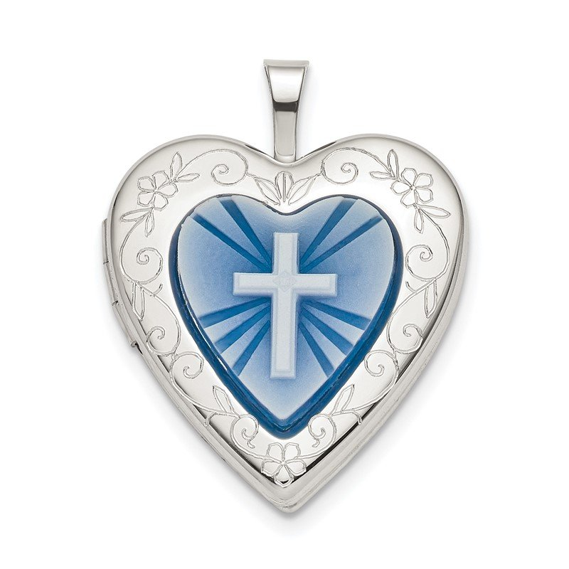 Quality Gold Sterling Silver 20mm Blue Resin Cross Cameo Heart Locket