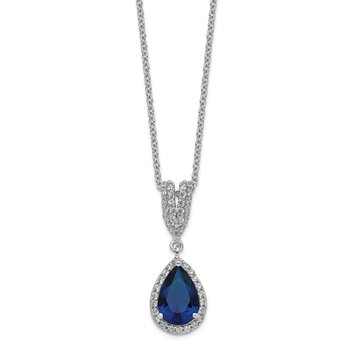 Cheryl M Sterling Silver CZ & Lab created Dk Blue Spinel Pear Shaped Neckla