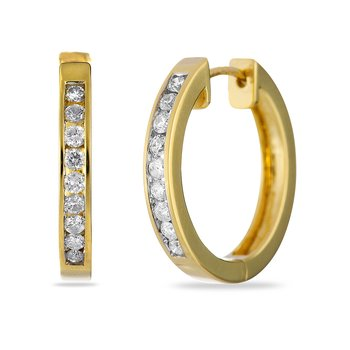 14K YG Hoops Earring Channel Set 0.50 cts Dia Safe Cla