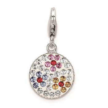Sterling Silver Swarovski Crystal Flower Disc w/Lobster Clasp Charm