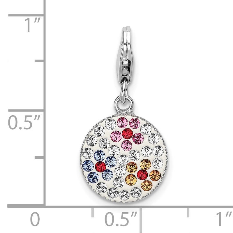 Quality Gold Sterling Silver Swarovski Crystal Flower Disc w/Lobster Clasp Charm
