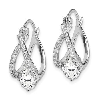 Sterling Silver Rhodium-plated Pear CZ Hoop Earrings