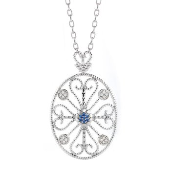 Sterling Silver Diamond and Sapphire Pendant