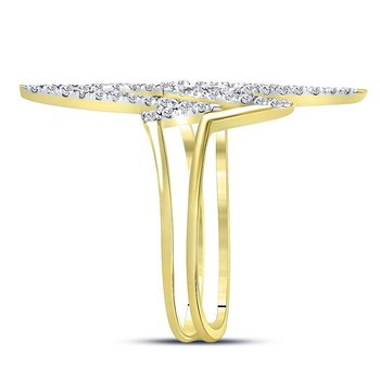 10kt Yellow Gold Womens Round Diamond Double Heartbeat Ring 1/5 Cttw