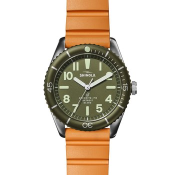 The Duck 42mm Stainless Green Dial Orange Strap Watch