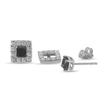 14K WG Diamond Square Halo Ear Studs with Princess Cut Black Diamond Centers