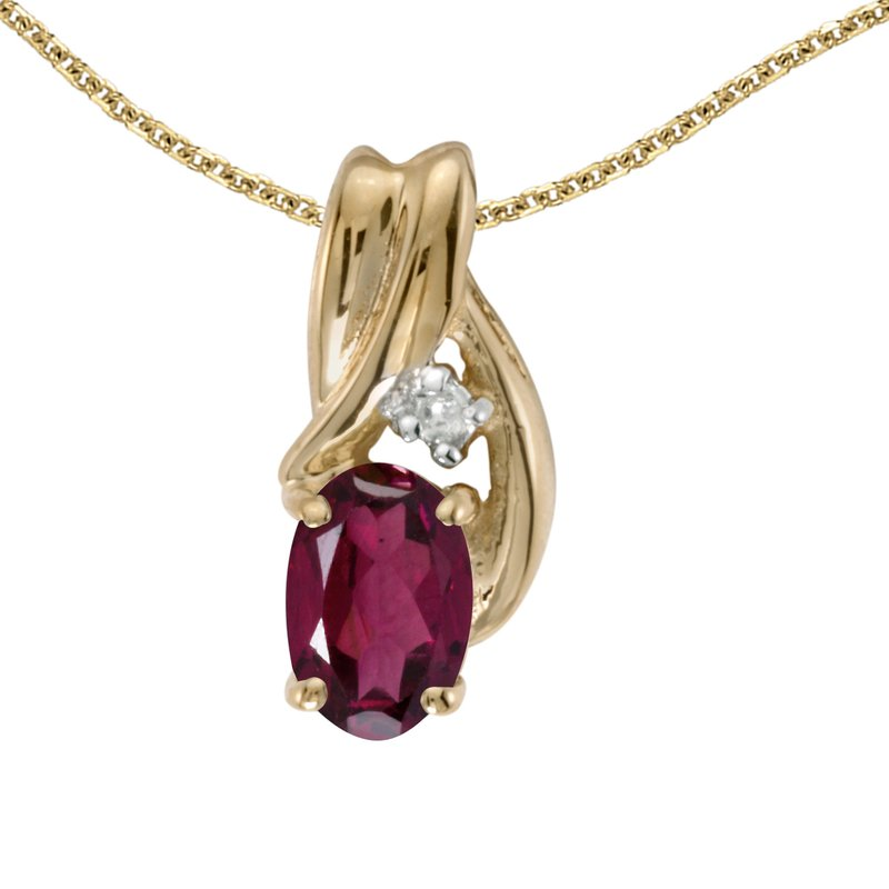 Color Merchants 10k Yellow Gold Oval Rhodolite Garnet And Diamond Pendant