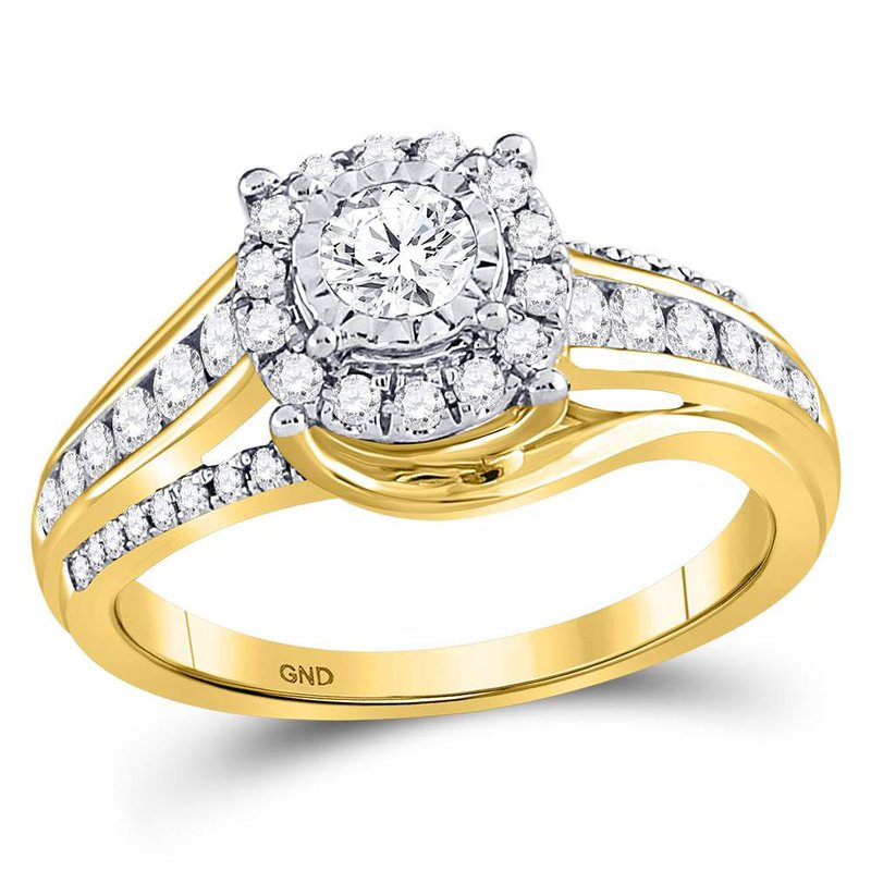 Gold-N-Diamonds, Inc. (Atlanta) 14kt Yellow Gold Womens Round Diamond Solitaire Bridal Wedding Engagement Ring 3/4 Cttw