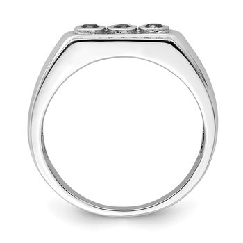 Sterling Silver Rhodium Black & White Diam. Men's Ring