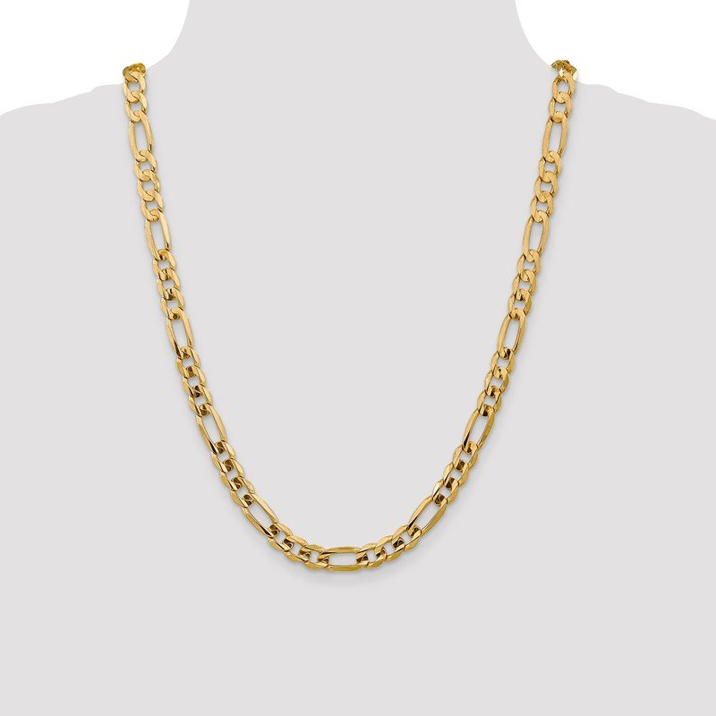 Quality Gold 14k 7.5mm Concave Open Figaro Chain