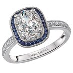 Romance Halo Semi Mount Diamond and Gemstone Ring