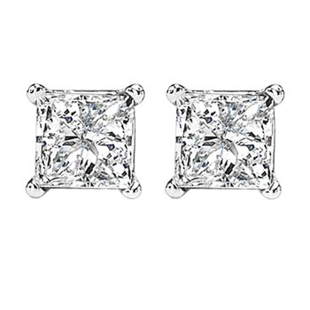 14K P/Cut Diamond Studs 1/4 ctw P3
