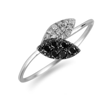 10K WG Black & White Diamond Ring in Pave Setting