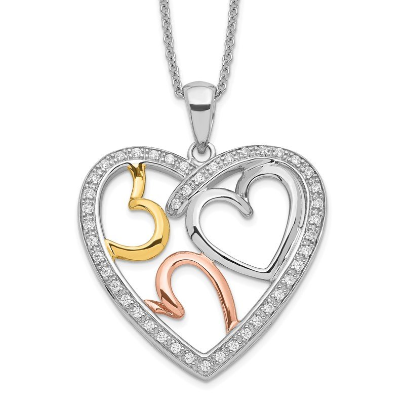 Quality Gold Sterling Silver Rose & Gold-plated The Bond of Love 18in Heart Necklace