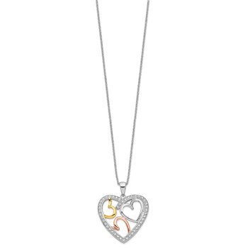 Sterling Silver Rose & Gold-plated The Bond of Love 18in Heart Necklace