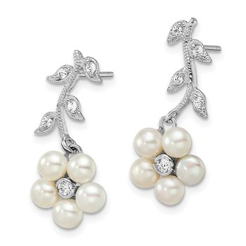 Sterling Silver Rhodium FW Cultured Pearl CZ Post Earrings
