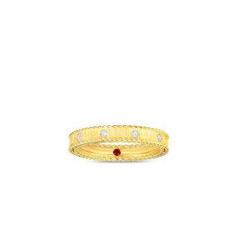 18KT GOLD PRINCESS BAND WITH DIAMONDS