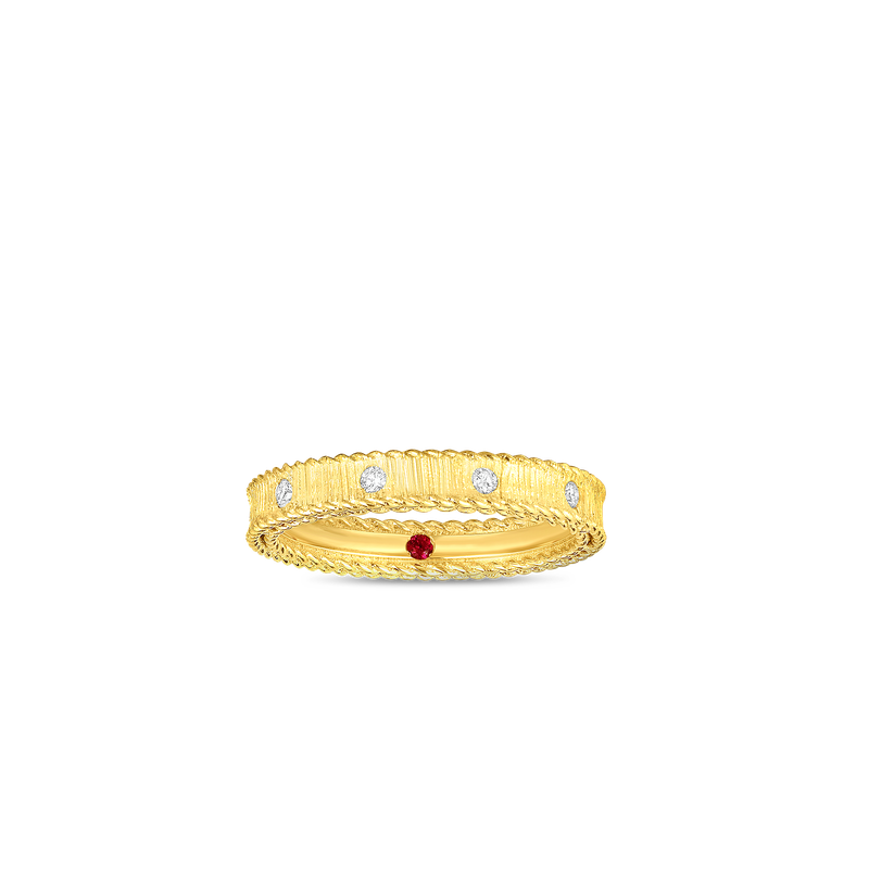 Roberto Coin  #28462 Of 18Kt Gold Princess Band With Diamonds