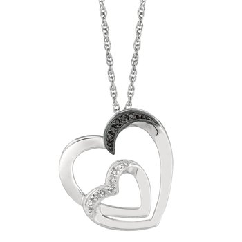 Silver .03ct Diamond Accent Heart Necklace