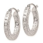 Quality Gold Sterling Silver Rhodium-plated Diamond-cut 3x20mm Square Tube Hoop Earrings