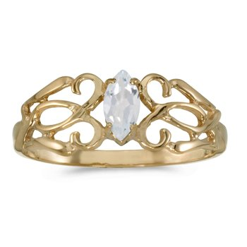 10k Yellow Gold Marquise White Topaz Filagree Ring