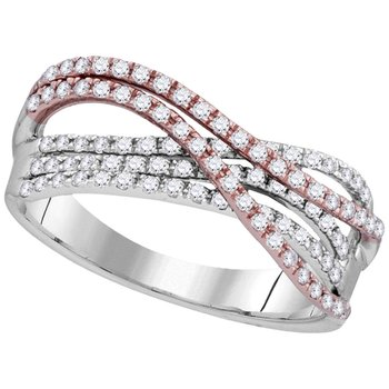 10kt Two-tone White Rose Gold Womens Round Diamond Strand Band Ring 1/2 Cttw