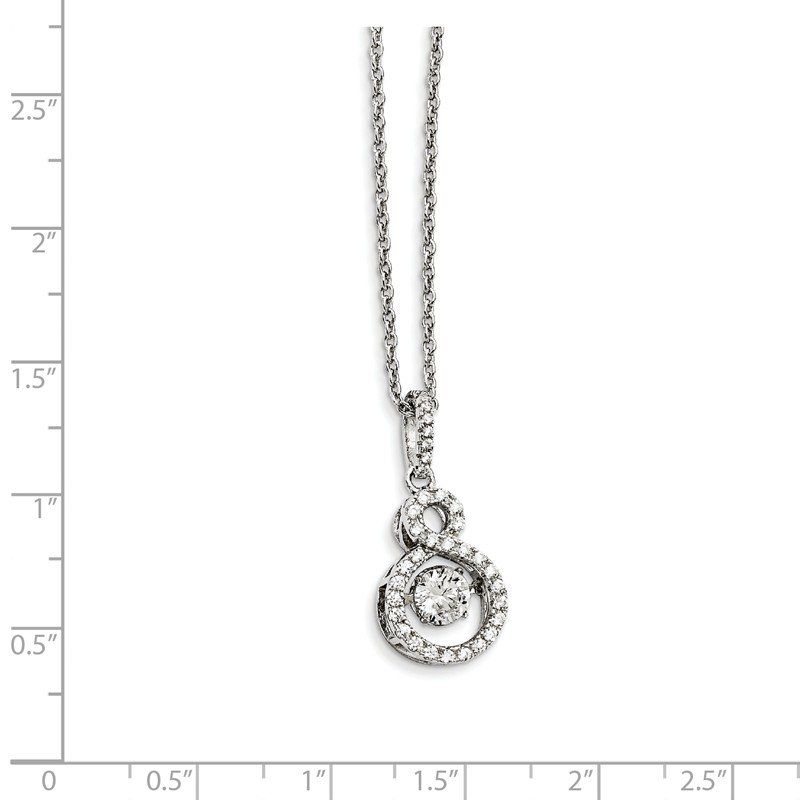 Quality Gold Sterling Silver Brilliant Embers Rhodium-pl and Vibrant CZ Infinity Necklac