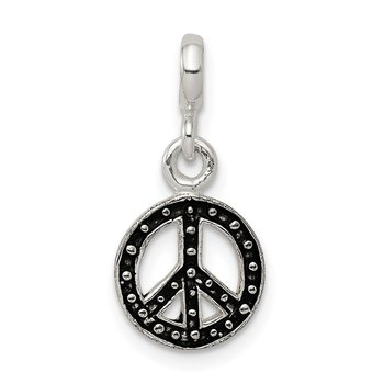 Sterling Silver Enameled Peace Symbol Enhancer