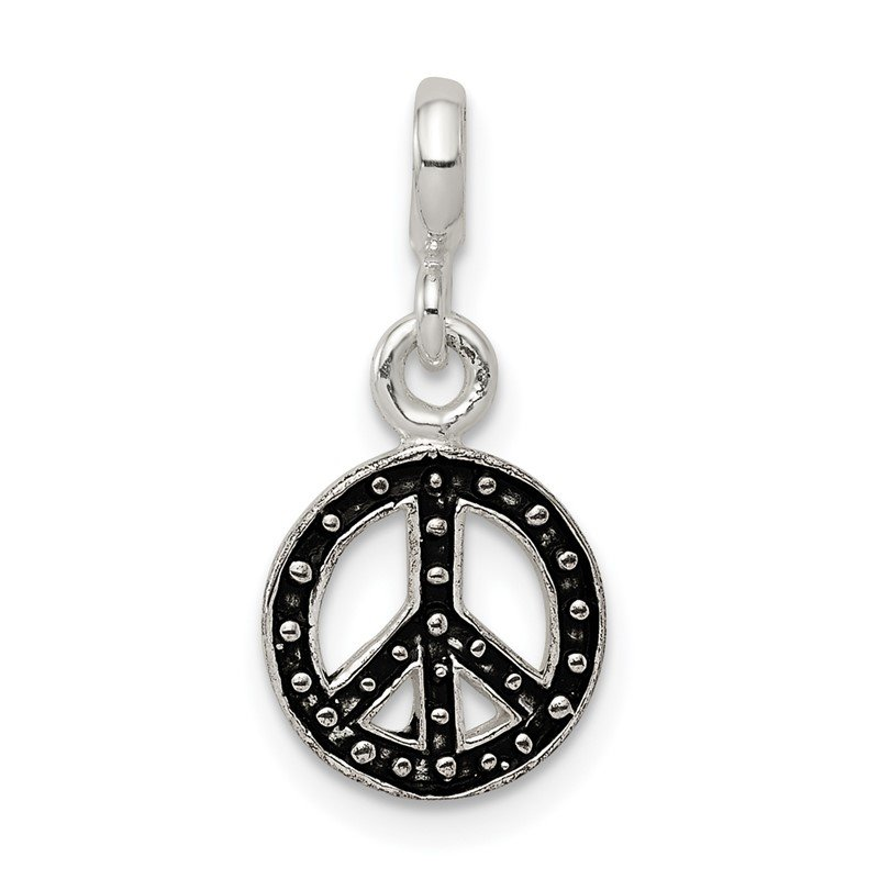 Quality Gold Sterling Silver Enameled Peace Symbol Enhancer
