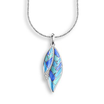 Blue Harliquin Feather Necklace.Sterling Silver-White Sapphire