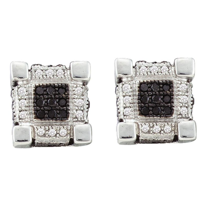 Gold-N-Diamonds 10kt White Gold Mens Round Diamond 3D Cube Square Cluster Stud Earrings 1/4 Cttw