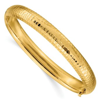 14k 5/16 Hammered Fancy Hinged Bangle Bracelet