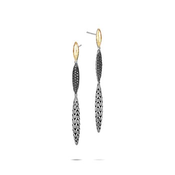 Classic Chain Spear Linear Earring, Silver, 18K Gold, Gem