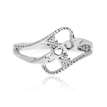 14K White Gold Braided I Love You Two-Stone Diamond Ring